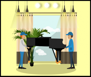 movers lifting piano