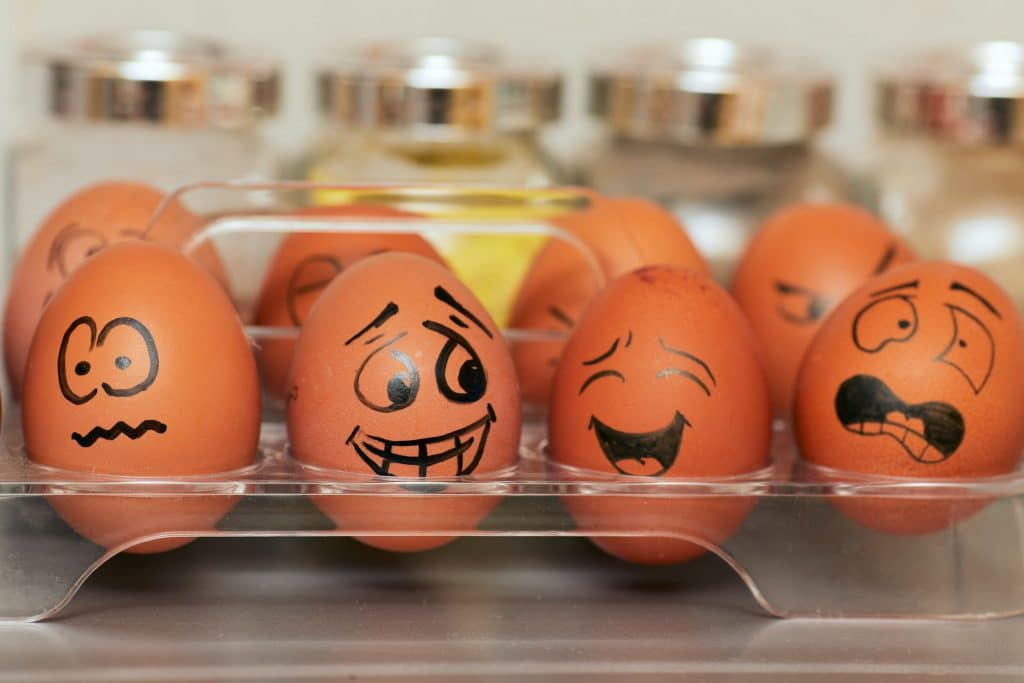 different faces of eggs on the shelf