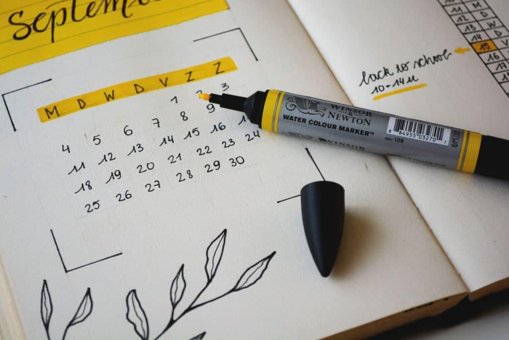 calendar and a marker
